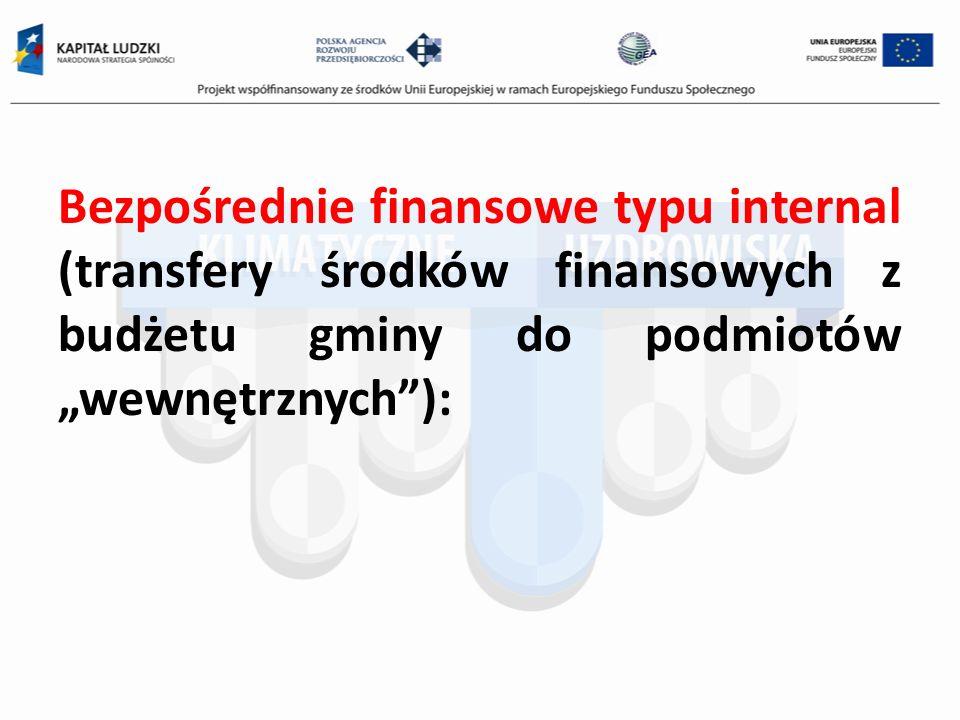 Bezpośrednie finansowe typu internal (transfery środków finansowych z budżetu gminy do podmiotów wewnętrznych):