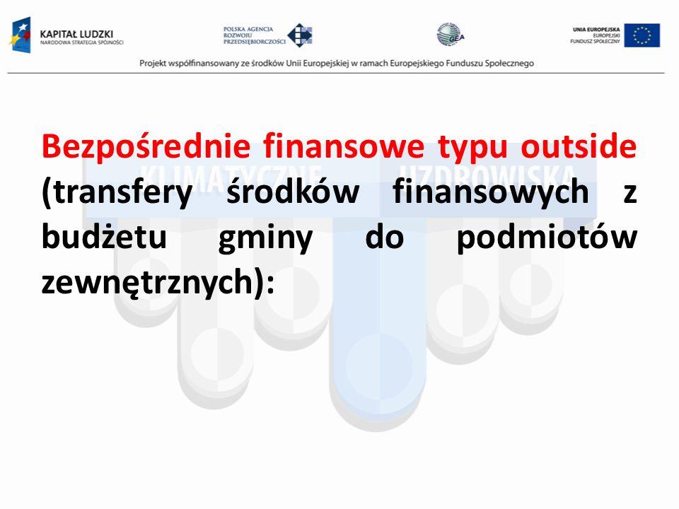 Bezpośrednie finansowe typu outside (transfery środków finansowych z budżetu gminy do podmiotów zewnętrznych):