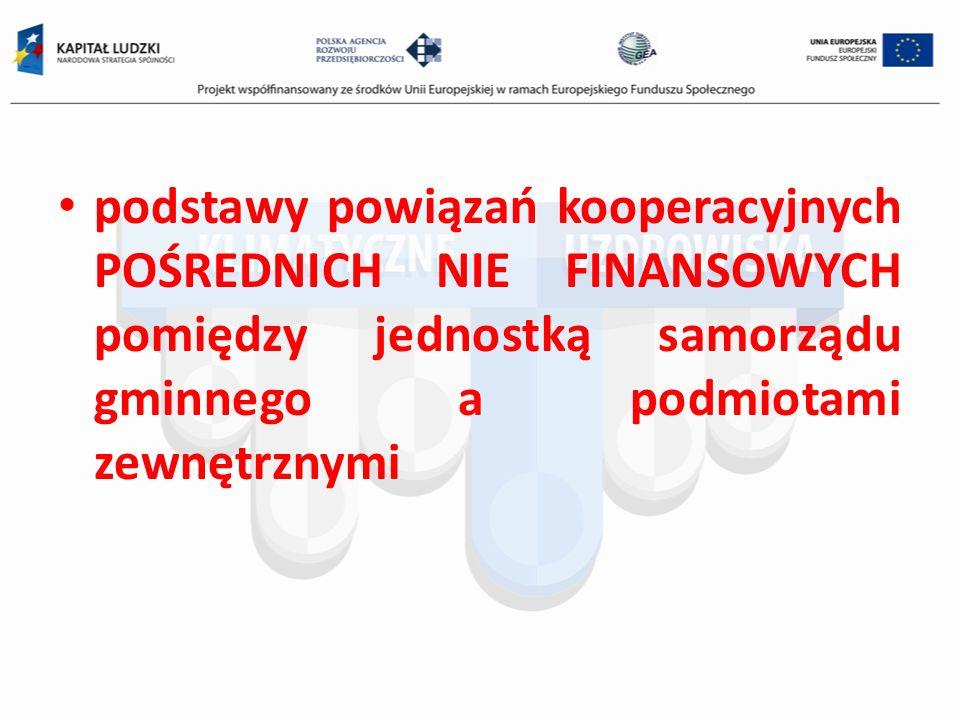 podstawy powiązań kooperacyjnych POŚREDNICH NIE FINANSOWYCH pomiędzy jednostką samorządu gminnego a podmiotami zewnętrznymi