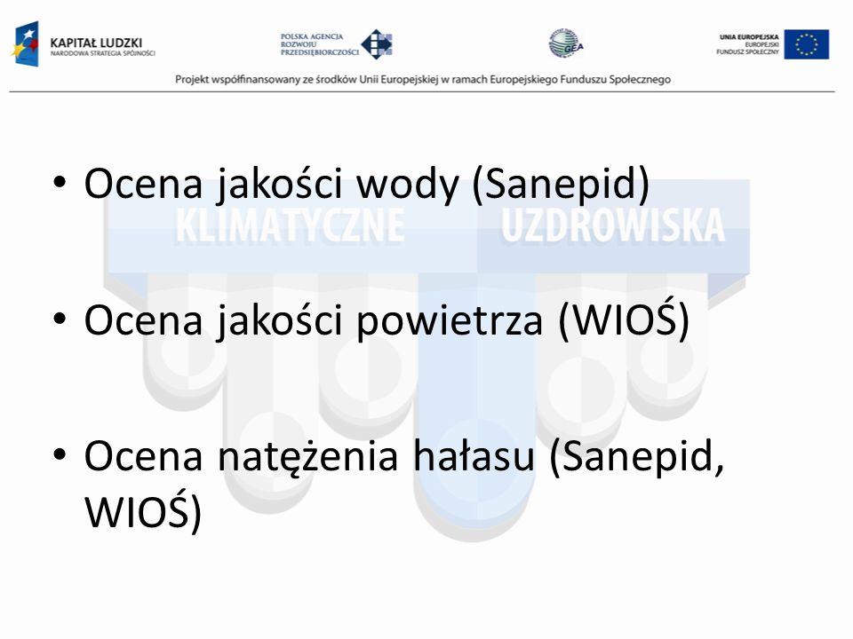 Ocena jakości wody (Sanepid) Ocena jakości powietrza (WIOŚ) Ocena natężenia hałasu (Sanepid, WIOŚ)