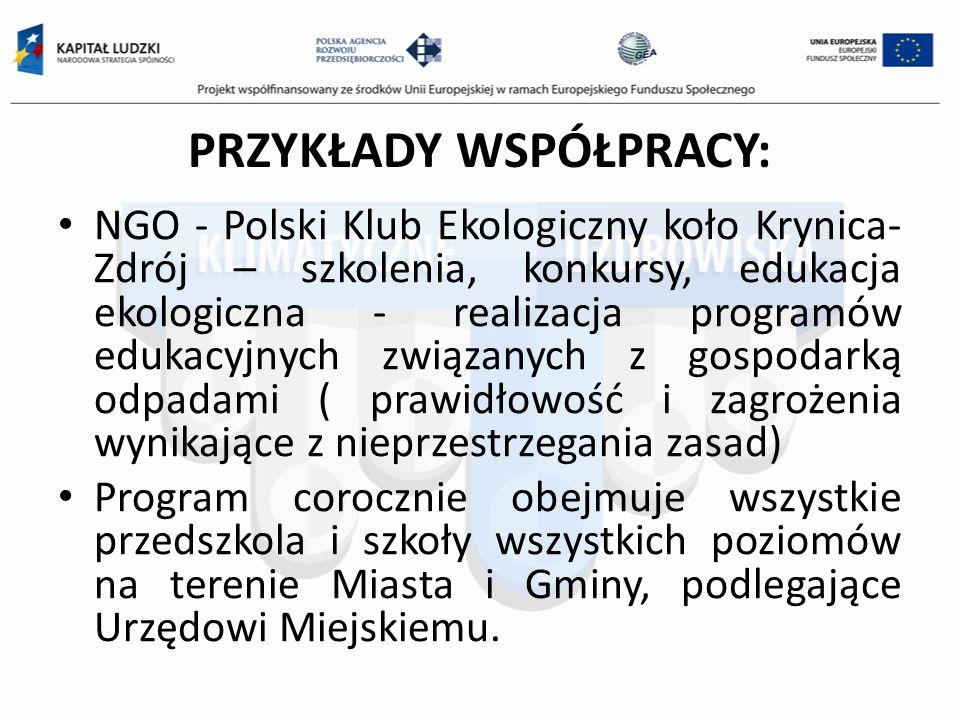 PRZYKŁADY WSPÓŁPRACY: NGO - Polski Klub Ekologiczny koło Krynica- Zdrój – szkolenia, konkursy, edukacja ekologiczna - realizacja programów edukacyjnych związanych z gospodarką odpadami ( prawidłowość i zagrożenia wynikające z nieprzestrzegania zasad) Program corocznie obejmuje wszystkie przedszkola i szkoły wszystkich poziomów na terenie Miasta i Gminy, podlegające Urzędowi Miejskiemu.