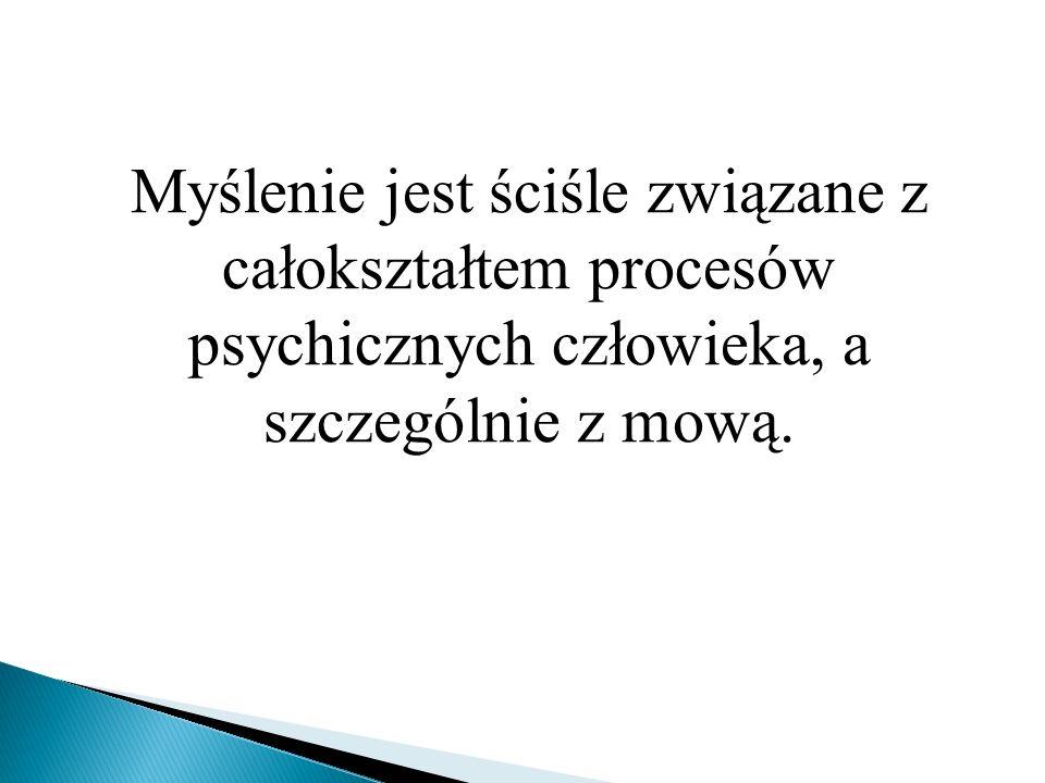 Myślenie jest ściśle związane z całokształtem procesów psychicznych człowieka, a szczególnie z mową.