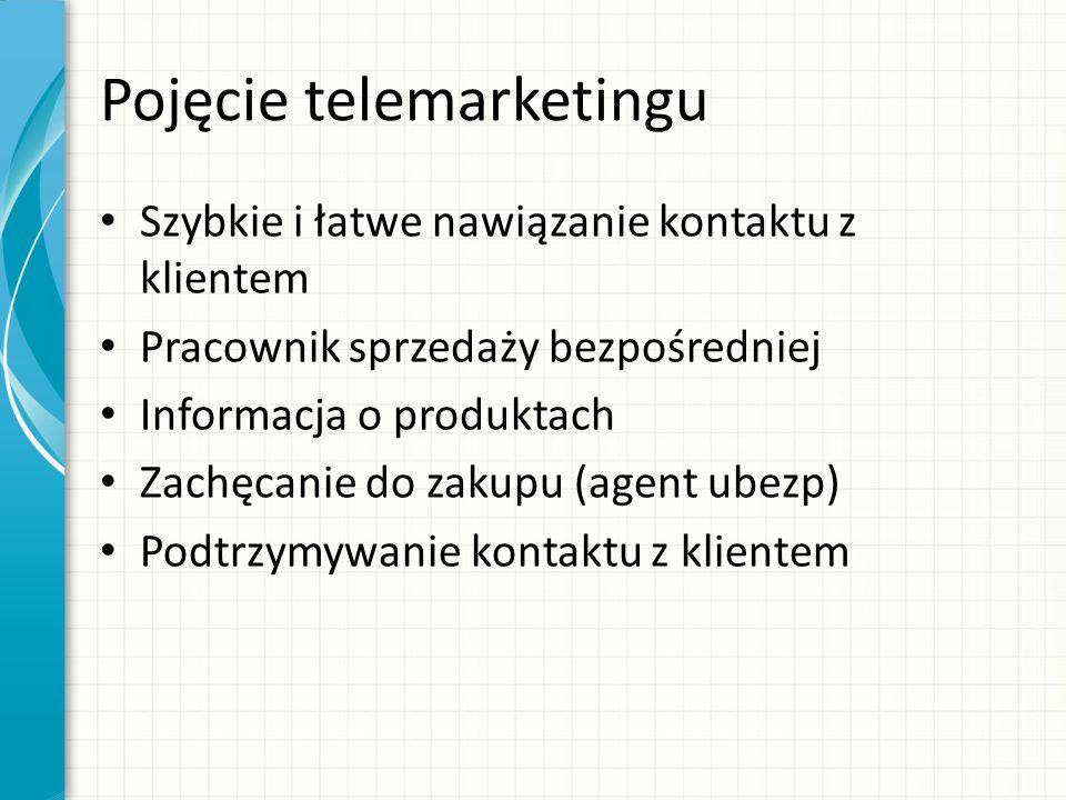 Pojęcie telemarketingu Szybkie i łatwe nawiązanie kontaktu z klientem Pracownik sprzedaży bezpośredniej Informacja o produktach Zachęcanie do zakupu (