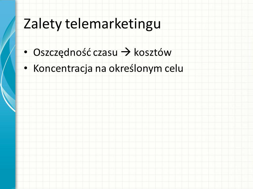 Zalety telemarketingu Oszczędność czasu kosztów Koncentracja na określonym celu