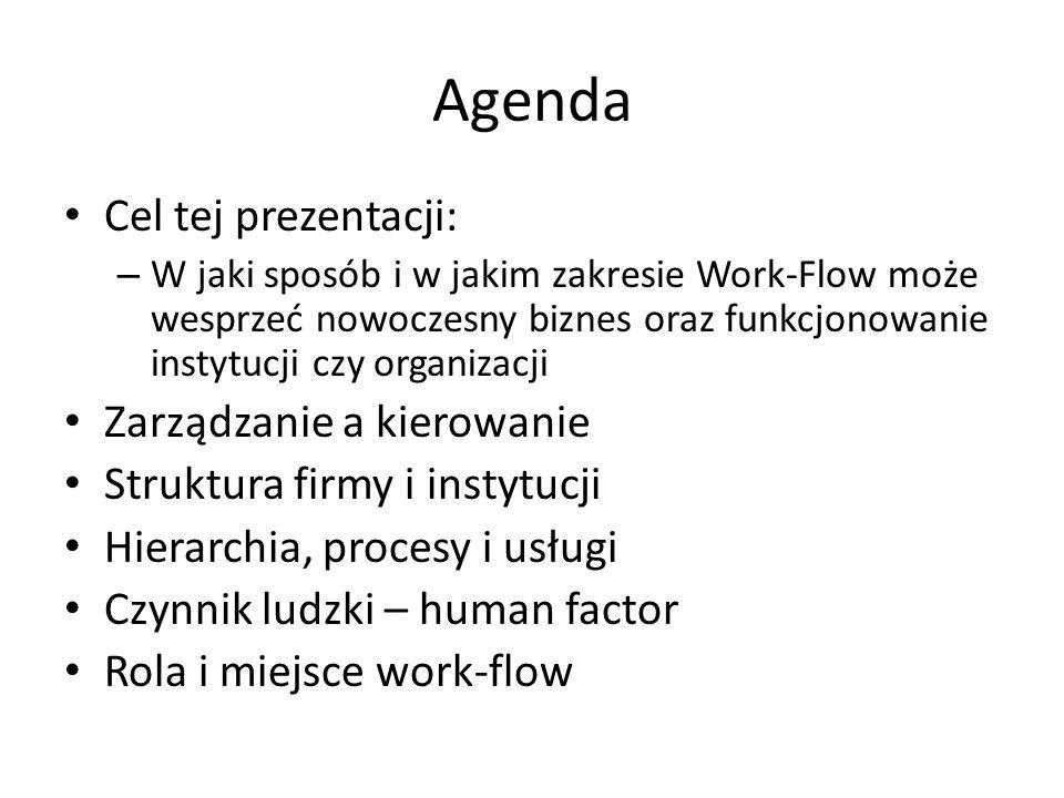 Agenda Cel tej prezentacji: – W jaki sposób i w jakim zakresie Work-Flow może wesprzeć nowoczesny biznes oraz funkcjonowanie instytucji czy organizacji Zarządzanie a kierowanie Struktura firmy i instytucji Hierarchia, procesy i usługi Czynnik ludzki – human factor Rola i miejsce work-flow