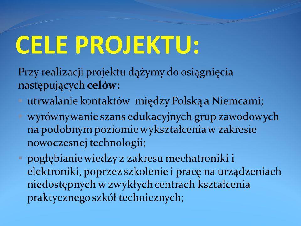 CELE PROJEKTU: Przy realizacji projektu dążymy do osiągnięcia następujących celów: utrwalanie kontaktów między Polską a Niemcami; wyrównywanie szans edukacyjnych grup zawodowych na podobnym poziomie wykształcenia w zakresie nowoczesnej technologii; pogłębianie wiedzy z zakresu mechatroniki i elektroniki, poprzez szkolenie i pracę na urządzeniach niedostępnych w zwykłych centrach kształcenia praktycznego szkół technicznych;