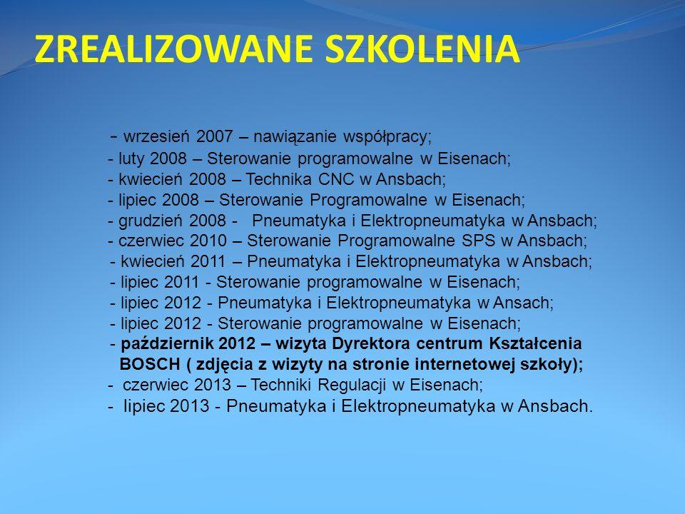 ZREALIZOWANE SZKOLENIA - wrzesień 2007 – nawiązanie współpracy; - luty 2008 – Sterowanie programowalne w Eisenach; - kwiecień 2008 – Technika CNC w An