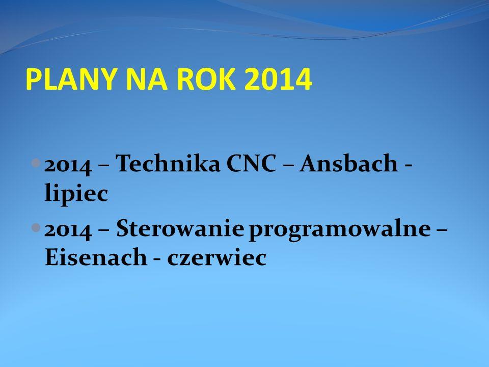 PLANY NA ROK 2014 2014 – Technika CNC – Ansbach - lipiec 2014 – Sterowanie programowalne – Eisenach - czerwiec