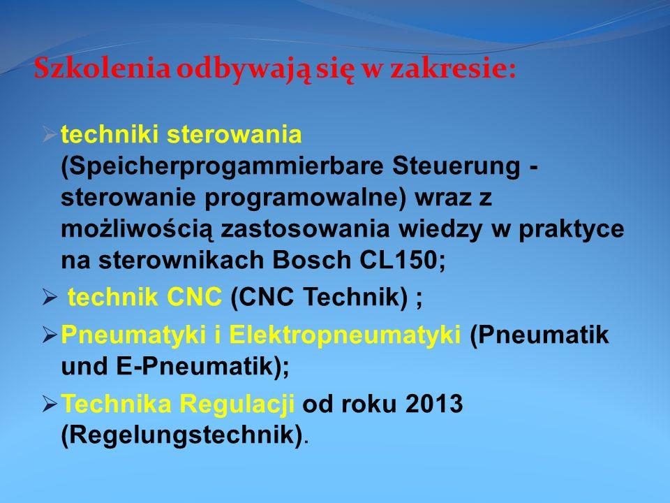 Szkolenia odbywają się w zakresie: techniki sterowania (Speicherprogammierbare Steuerung - sterowanie programowalne) wraz z możliwością zastosowania wiedzy w praktyce na sterownikach Bosch CL150; technik CNC (CNC Technik) ; Pneumatyki i Elektropneumatyki (Pneumatik und E-Pneumatik); Technika Regulacji od roku 2013 (Regelungstechnik).