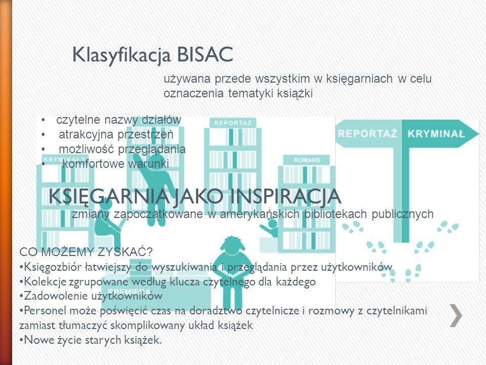 Klasyfikacja BISAC KSIĘGARNIA JAKO INSPIRACJA używana przede wszystkim w księgarniach w celu oznaczenia tematyki książki czytelne nazwy działów atrakc