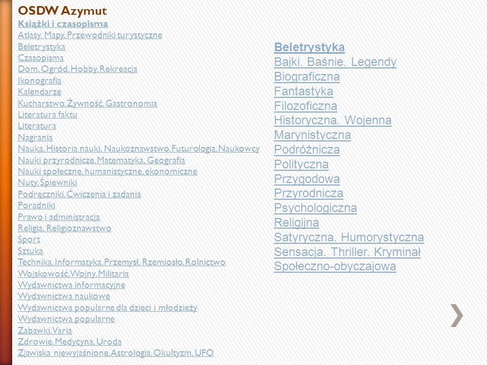 OSDW Azymut Książki i czasopisma Atlasy. Mapy. Przewodniki turystyczne Beletrystyka Czasopisma Dom. Ogród. Hobby. Rekreacja Ikonografia Kalendarze Kuc