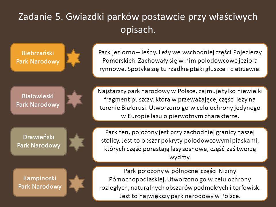 Zadanie 5. Gwiazdki parków postawcie przy właściwych opisach. Biebrzański Park Narodowy Białowieski Park Narodowy Drawieński Park Narodowy Kampinoski