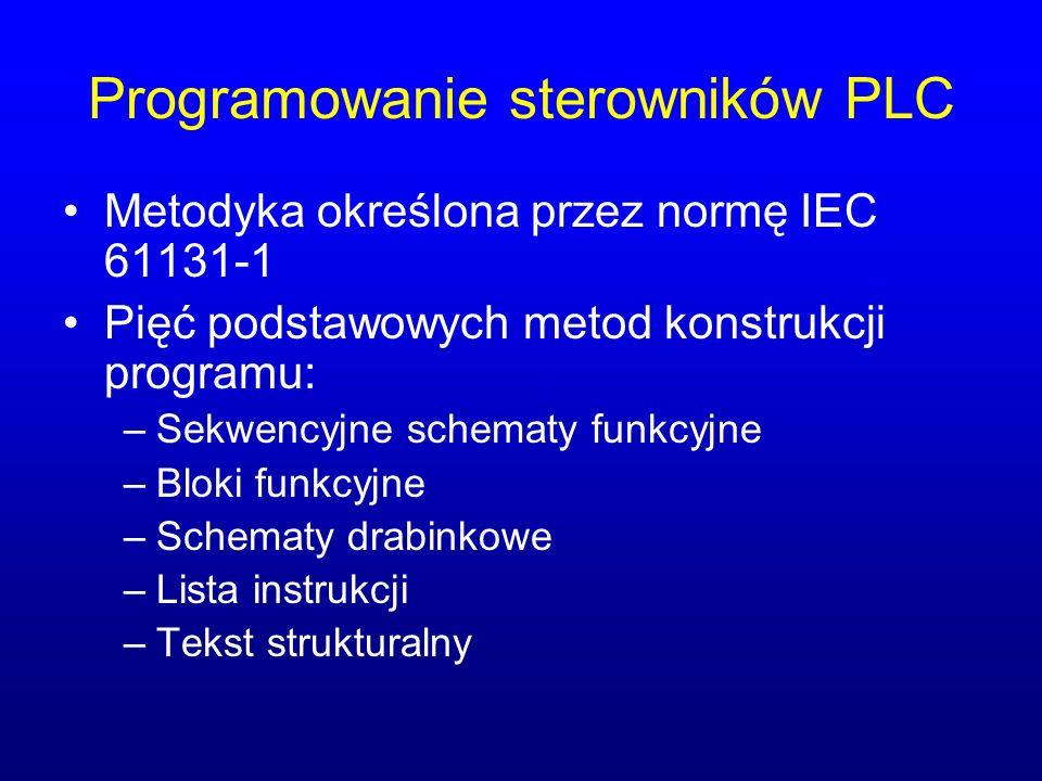 Programowanie sterowników PLC Metodyka określona przez normę IEC 61131-1 Pięć podstawowych metod konstrukcji programu: –Sekwencyjne schematy funkcyjne