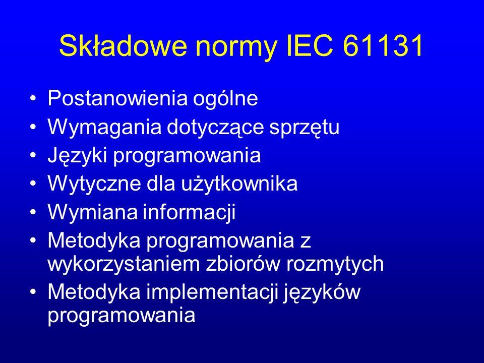 Składowe normy IEC 61131 Postanowienia ogólne Wymagania dotyczące sprzętu Języki programowania Wytyczne dla użytkownika Wymiana informacji Metodyka pr