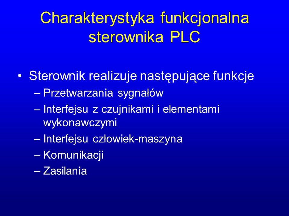 Charakterystyka funkcjonalna sterownika PLC Sterownik realizuje następujące funkcje –Przetwarzania sygnałów –Interfejsu z czujnikami i elementami wyko