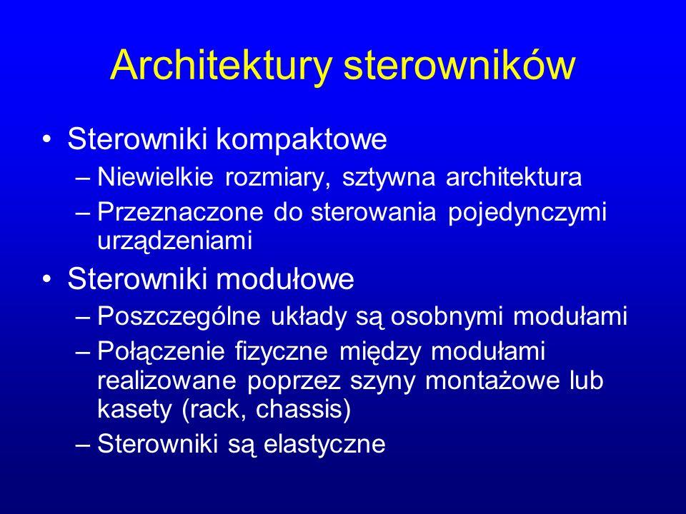Architektury sterowników Sterowniki kompaktowe –Niewielkie rozmiary, sztywna architektura –Przeznaczone do sterowania pojedynczymi urządzeniami Sterow