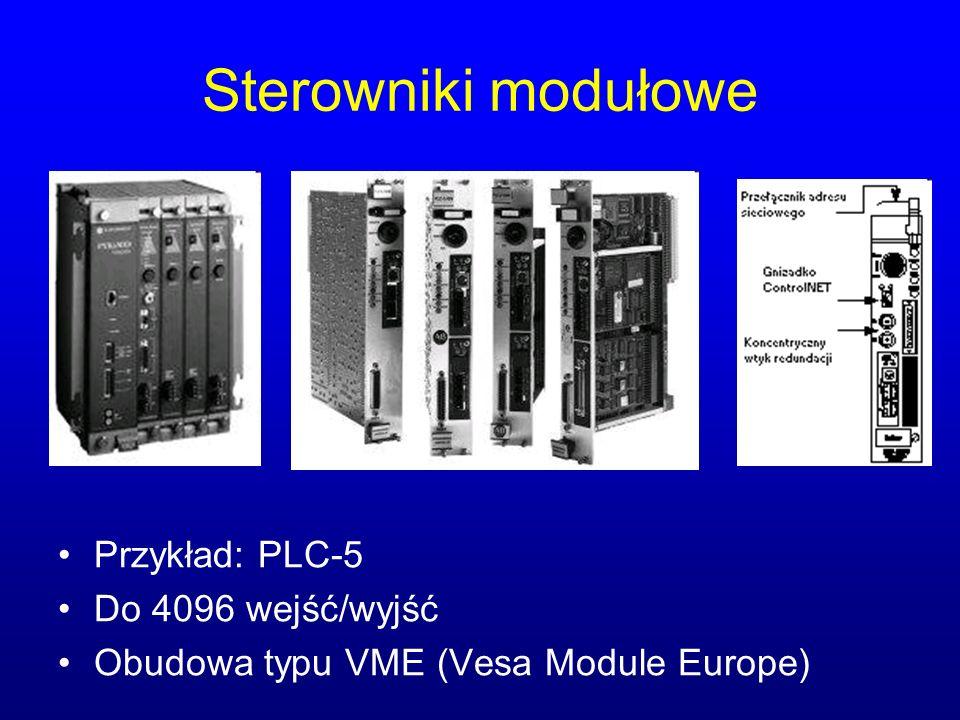 Sterowniki modułowe Przykład: PLC-5 Do 4096 wejść/wyjść Obudowa typu VME (Vesa Module Europe)