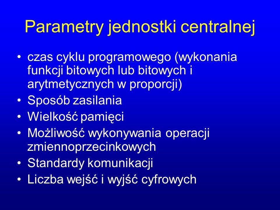 Parametry jednostki centralnej czas cyklu programowego (wykonania funkcji bitowych lub bitowych i arytmetycznych w proporcji) Sposób zasilania Wielkoś