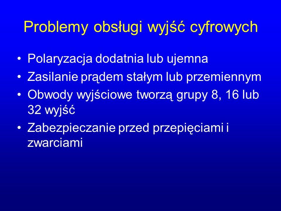 Problemy obsługi wyjść cyfrowych Polaryzacja dodatnia lub ujemna Zasilanie prądem stałym lub przemiennym Obwody wyjściowe tworzą grupy 8, 16 lub 32 wy