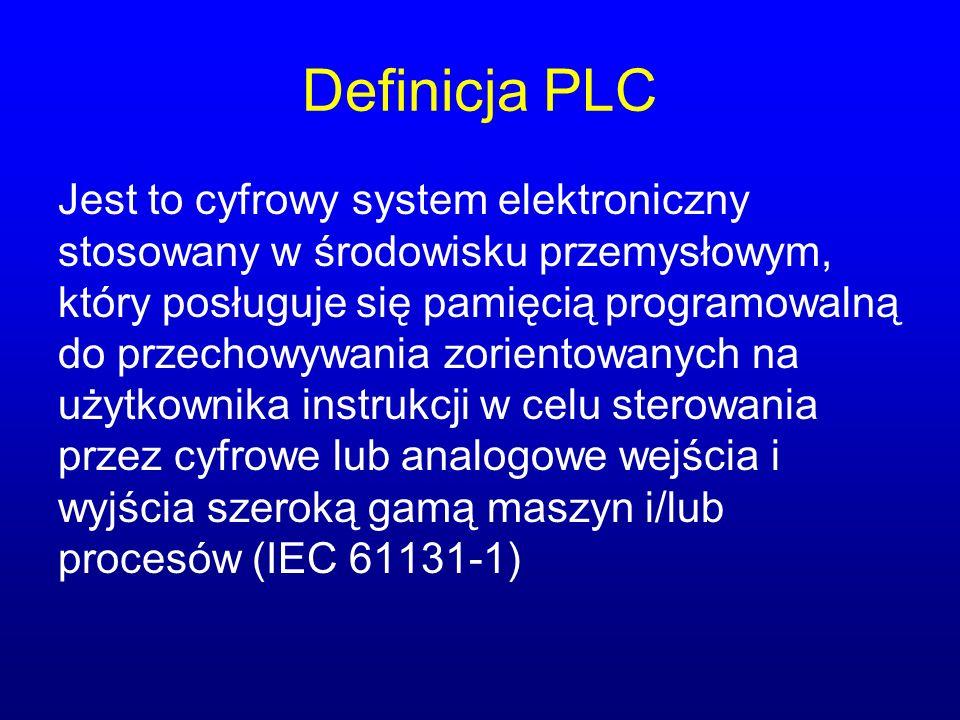 Definicja PLC Jest to cyfrowy system elektroniczny stosowany w środowisku przemysłowym, który posługuje się pamięcią programowalną do przechowywania z