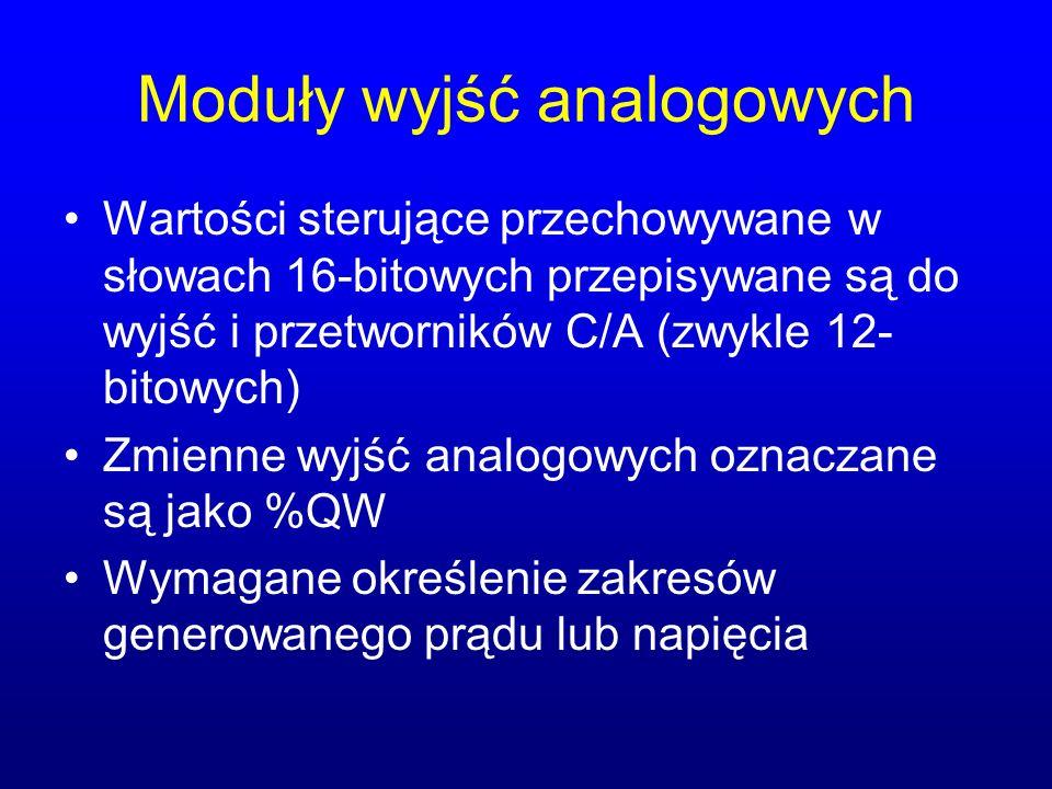 Moduły wyjść analogowych Wartości sterujące przechowywane w słowach 16-bitowych przepisywane są do wyjść i przetworników C/A (zwykle 12- bitowych) Zmi