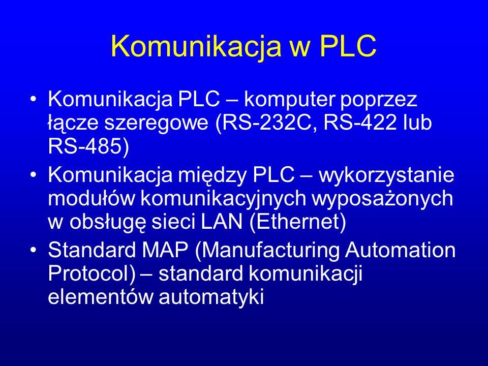 Komunikacja w PLC Komunikacja PLC – komputer poprzez łącze szeregowe (RS-232C, RS-422 lub RS-485) Komunikacja między PLC – wykorzystanie modułów komun