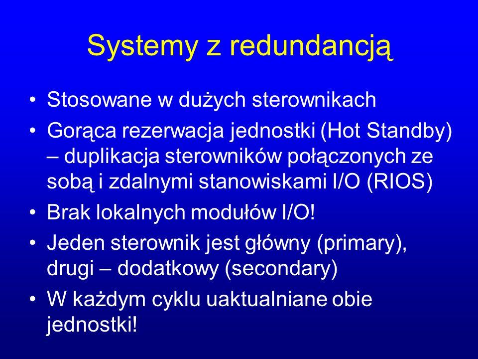 Systemy z redundancją Stosowane w dużych sterownikach Gorąca rezerwacja jednostki (Hot Standby) – duplikacja sterowników połączonych ze sobą i zdalnym