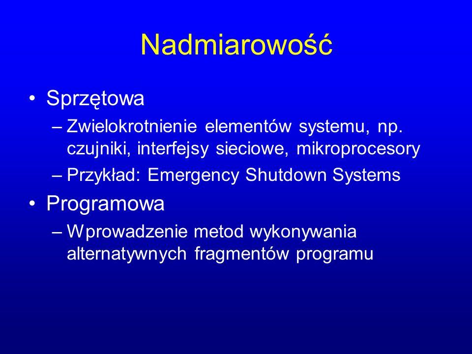 Nadmiarowość Sprzętowa –Zwielokrotnienie elementów systemu, np. czujniki, interfejsy sieciowe, mikroprocesory –Przykład: Emergency Shutdown Systems Pr