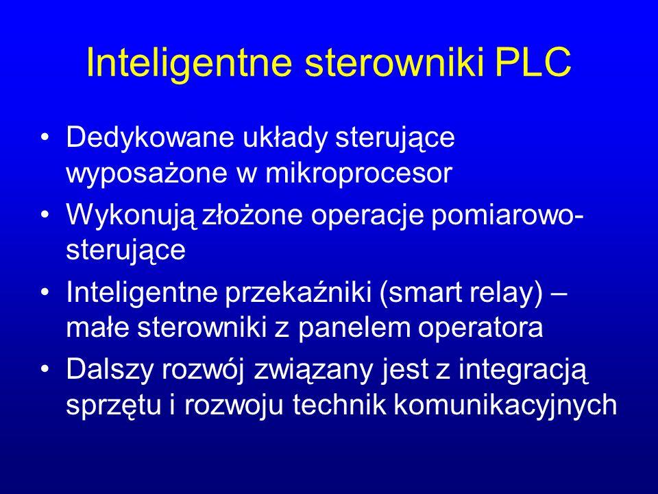 Inteligentne sterowniki PLC Dedykowane układy sterujące wyposażone w mikroprocesor Wykonują złożone operacje pomiarowo- sterujące Inteligentne przekaź
