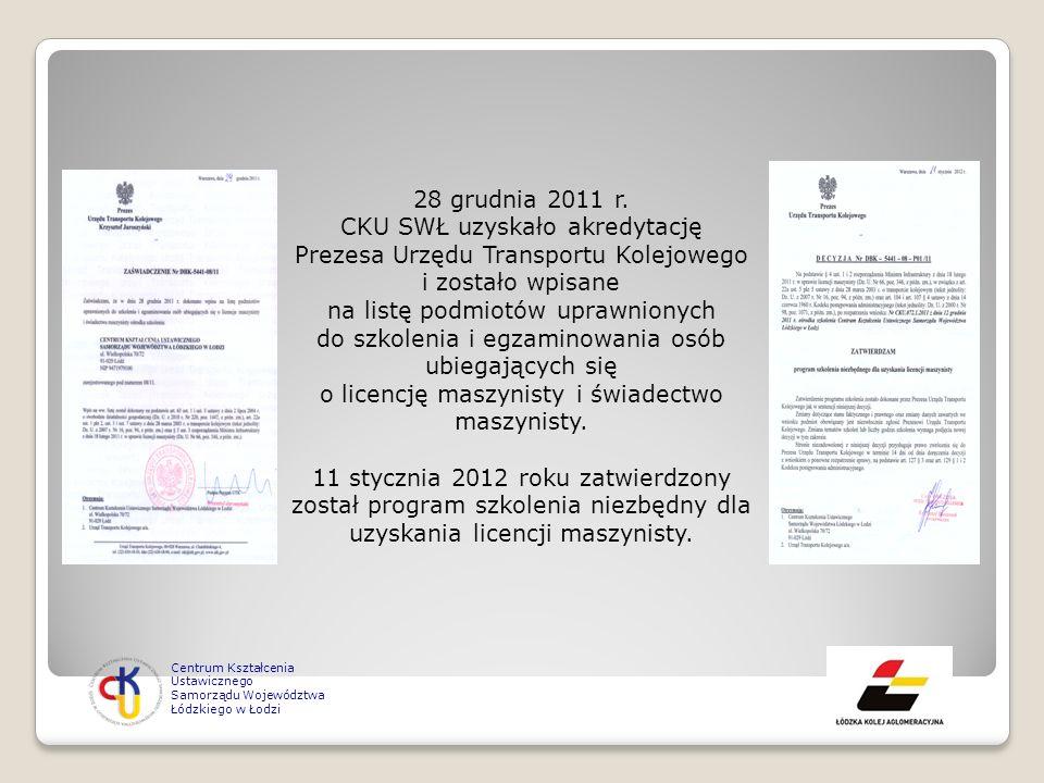 28 grudnia 2011 r. CKU SWŁ uzyskało akredytację Prezesa Urzędu Transportu Kolejowego i zostało wpisane na listę podmiotów uprawnionych do szkolenia i