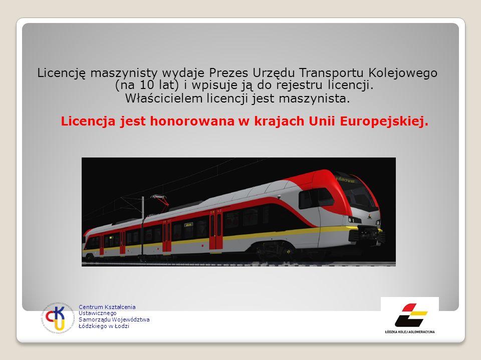 Licencję maszynisty wydaje Prezes Urzędu Transportu Kolejowego (na 10 lat) i wpisuje ją do rejestru licencji. Właścicielem licencji jest maszynista. L