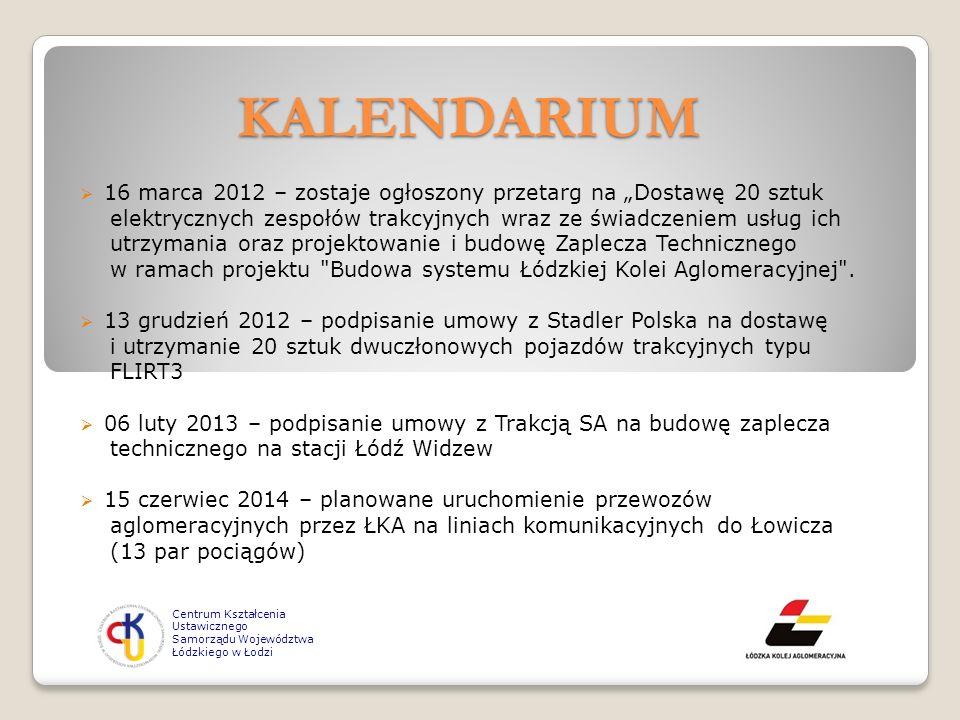 Centrum Kształcenia Ustawicznego Samorządu Województwa Łódzkiego w Łodzi KALENDARIUM 16 marca 2012 – zostaje ogłoszony przetarg na Dostawę 20 sztuk el