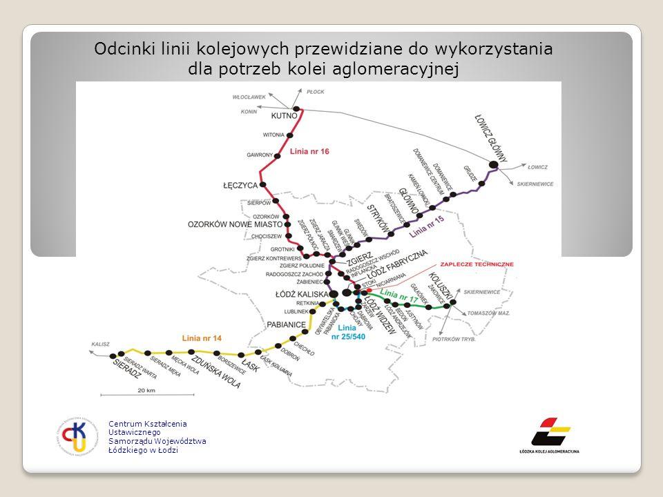 Centrum Kształcenia Ustawicznego Samorządu Województwa Łódzkiego w Łodzi Odcinki linii kolejowych przewidziane do wykorzystania dla potrzeb kolei aglo