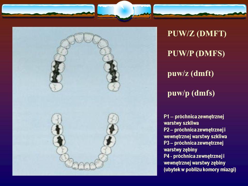 PUW/Z (DMFT) PUW/P (DMFS) puw/z (dmft) puw/p (dmfs) P1 -- próchnica zewnętrznej warstwy szkliwa P2 – próchnica zewnętrznej i wewnętrznej warstwy szkli