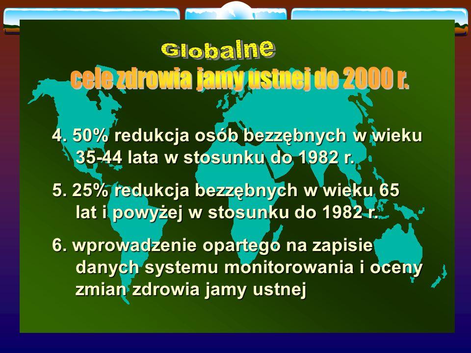 4. 50% redukcja osób bezzębnych w wieku 35-44 lata w stosunku do 1982 r. 5. 25% redukcja bezzębnych w wieku 65 lat i powyżej w stosunku do 1982 r. 6.