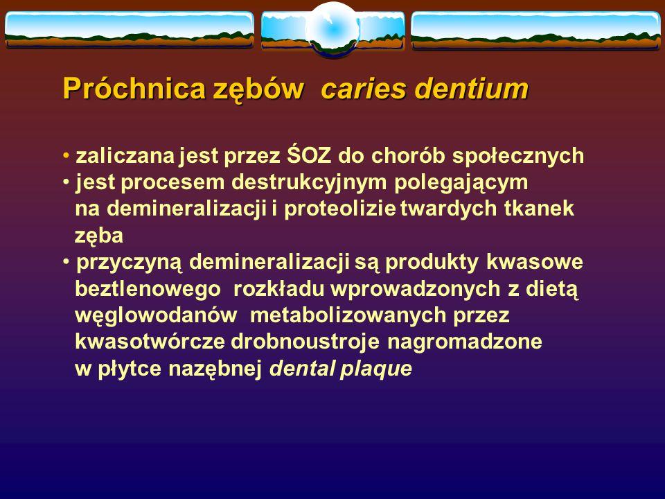 Próchnica zębów caries dentium zaliczana jest przez ŚOZ do chorób społecznych jest procesem destrukcyjnym polegającym na demineralizacji i proteolizie twardych tkanek zęba przyczyną demineralizacji są produkty kwasowe beztlenowego rozkładu wprowadzonych z dietą węglowodanów metabolizowanych przez kwasotwórcze drobnoustroje nagromadzone w płytce nazębnej dental plaque