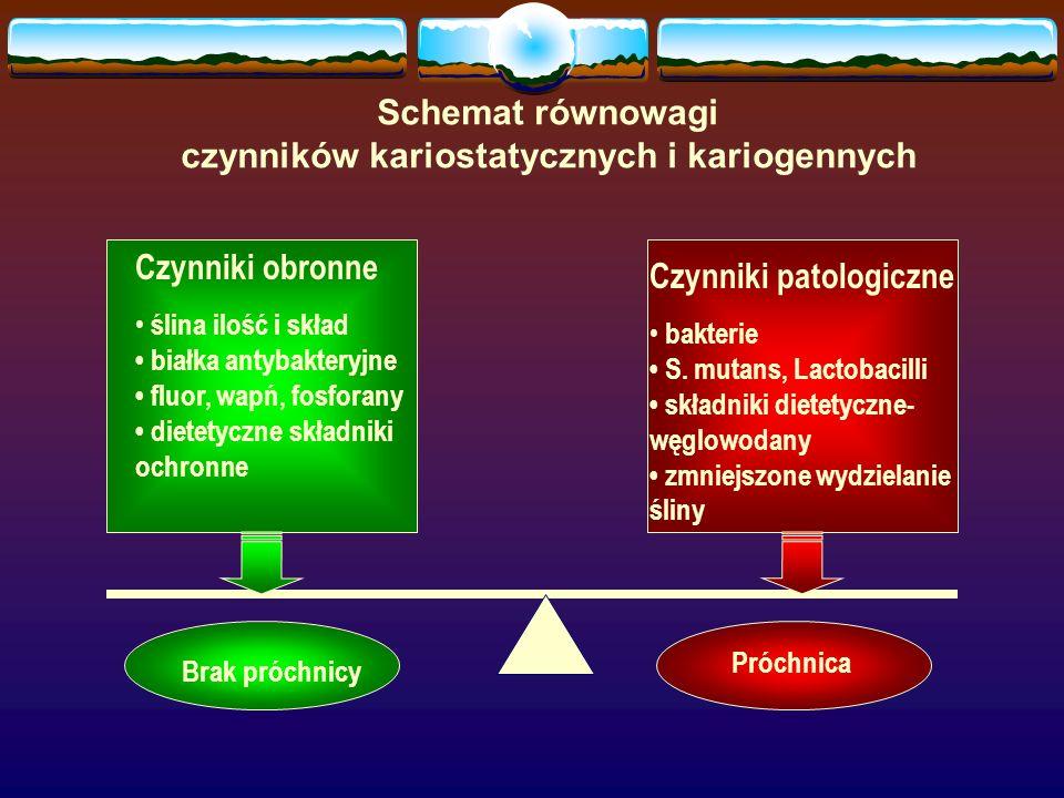 Czynniki obronne ślina ilość i skład białka antybakteryjne fluor, wapń, fosforany dietetyczne składniki ochronne Czynniki patologiczne bakterie S. mut