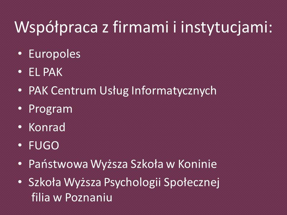 Współpraca z firmami i instytucjami: Europoles EL PAK PAK Centrum Usług Informatycznych Program Konrad FUGO Państwowa Wyższa Szkoła w Koninie Szkoła Wyższa Psychologii Społecznej filia w Poznaniu