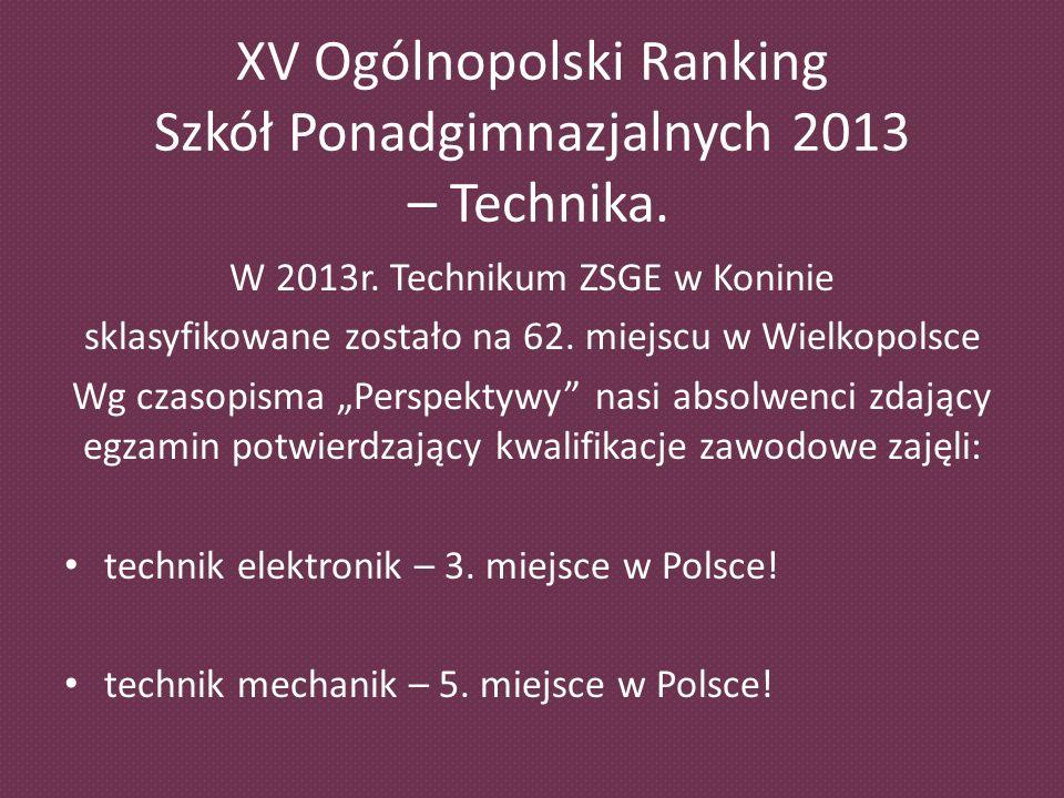 XV Ogólnopolski Ranking Szkół Ponadgimnazjalnych 2013 – Technika.