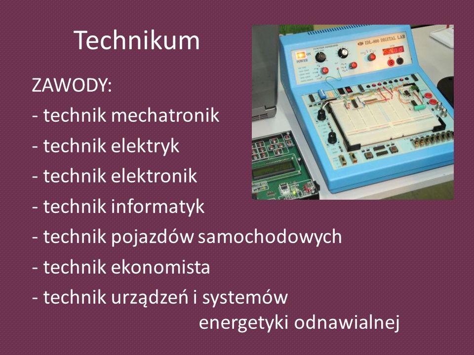 Technikum ZAWODY: - technik mechatronik - technik elektryk - technik elektronik - technik informatyk - technik pojazdów samochodowych - technik ekonomista - technik urządzeń i systemów energetyki odnawialnej
