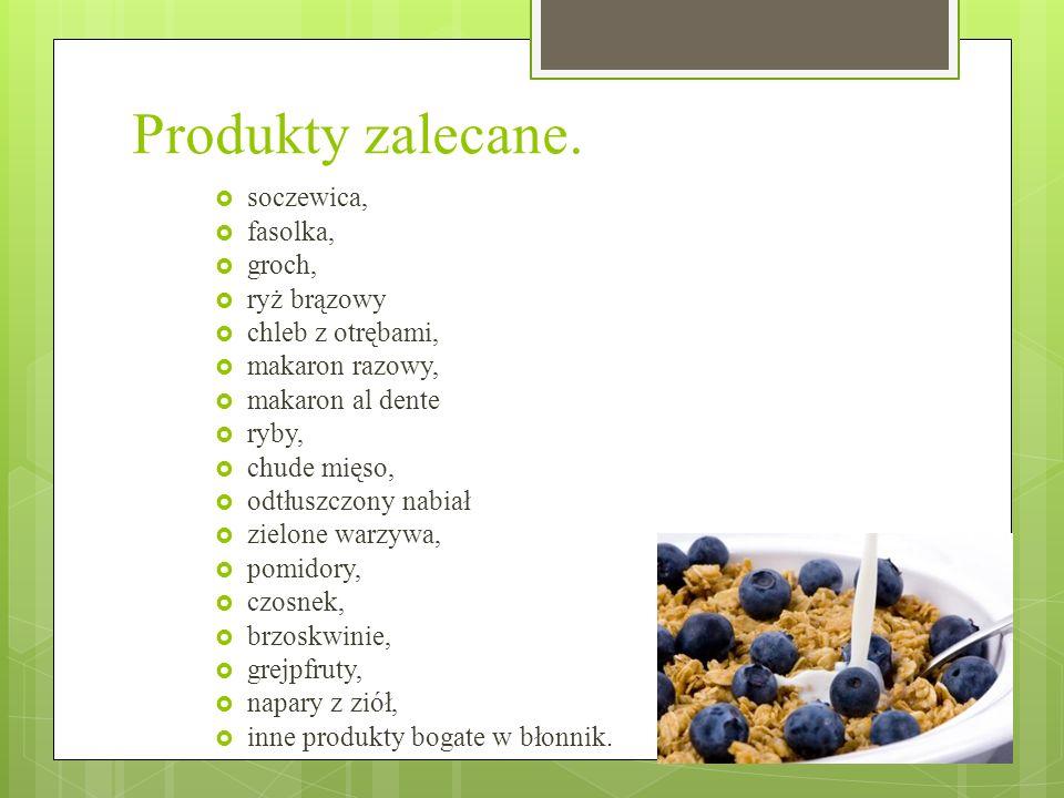 Produkty przeciwwskazane ziemniaki (poza młodymi), biała mąka, kukurydza, biały ryż, białe pieczywo, cukier, cukierki, ciasta, słodzone konfitury, miód, banany, winogrona, suszone owoce, frytki, piwo.