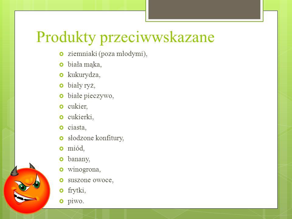 Produkty przeciwwskazane ziemniaki (poza młodymi), biała mąka, kukurydza, biały ryż, białe pieczywo, cukier, cukierki, ciasta, słodzone konfitury, mió