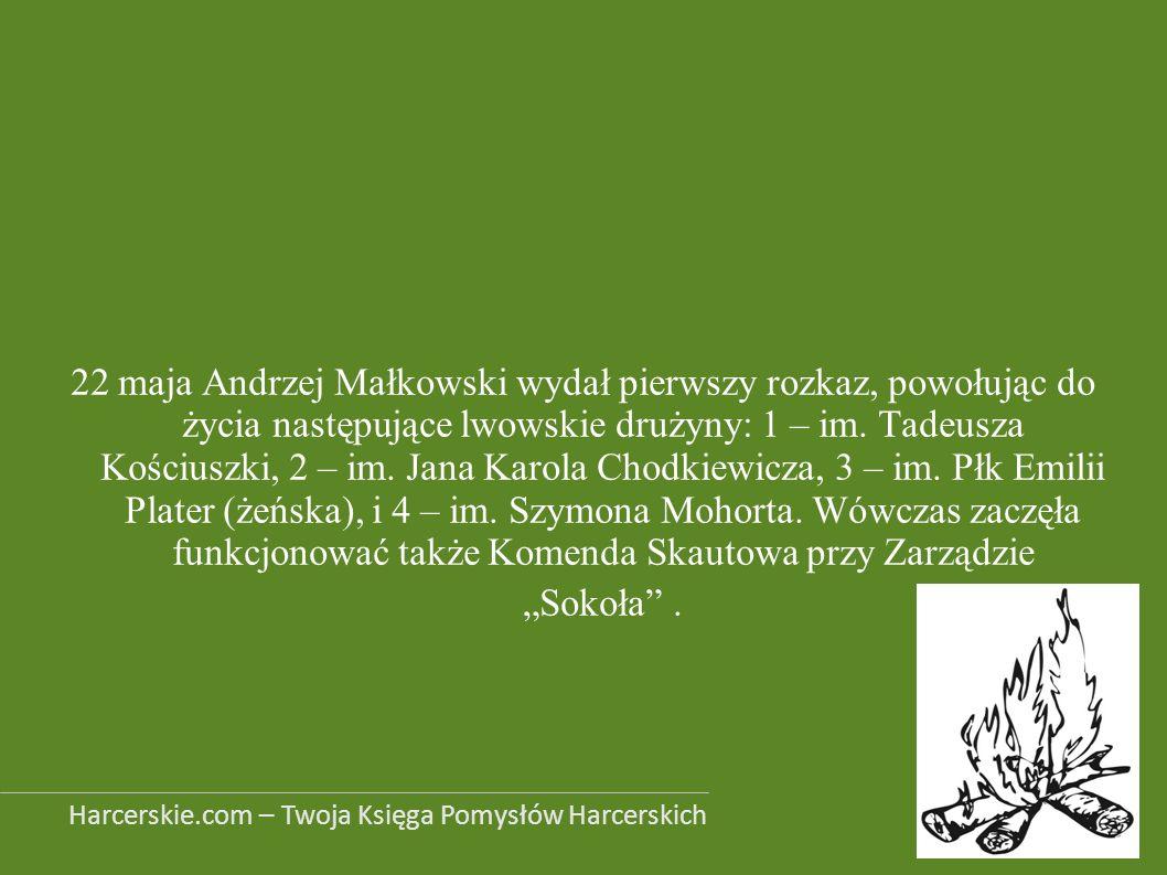 22 maja Andrzej Małkowski wydał pierwszy rozkaz, powołując do życia następujące lwowskie drużyny: 1 – im. Tadeusza Kościuszki, 2 – im. Jana Karola Cho