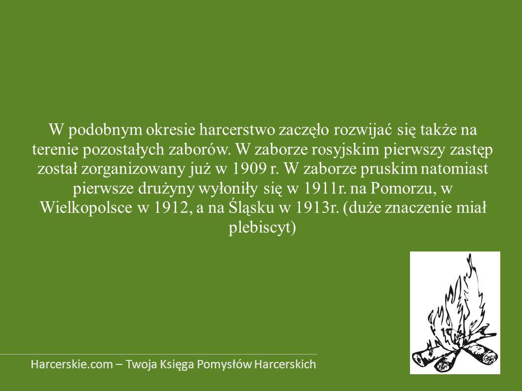 W podobnym okresie harcerstwo zaczęło rozwijać się także na terenie pozostałych zaborów. W zaborze rosyjskim pierwszy zastęp został zorganizowany już