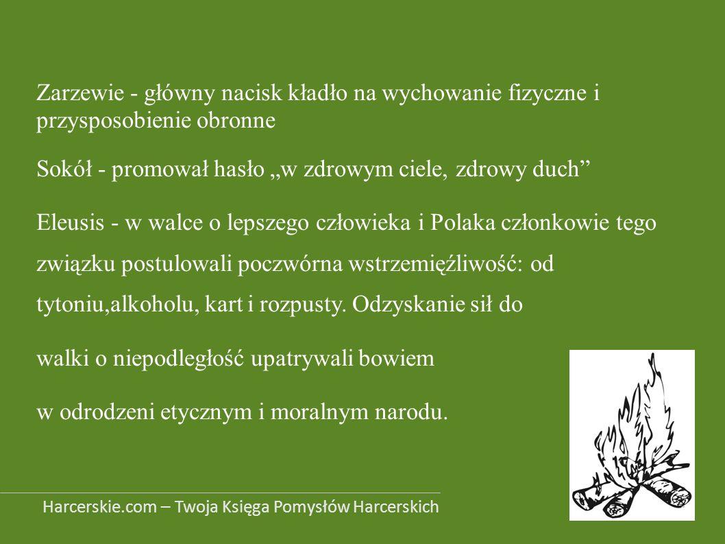 Zarzewie - główny nacisk kładło na wychowanie fizyczne i przysposobienie obronne Sokół - promował hasło w zdrowym ciele, zdrowy duch Eleusis - w walce