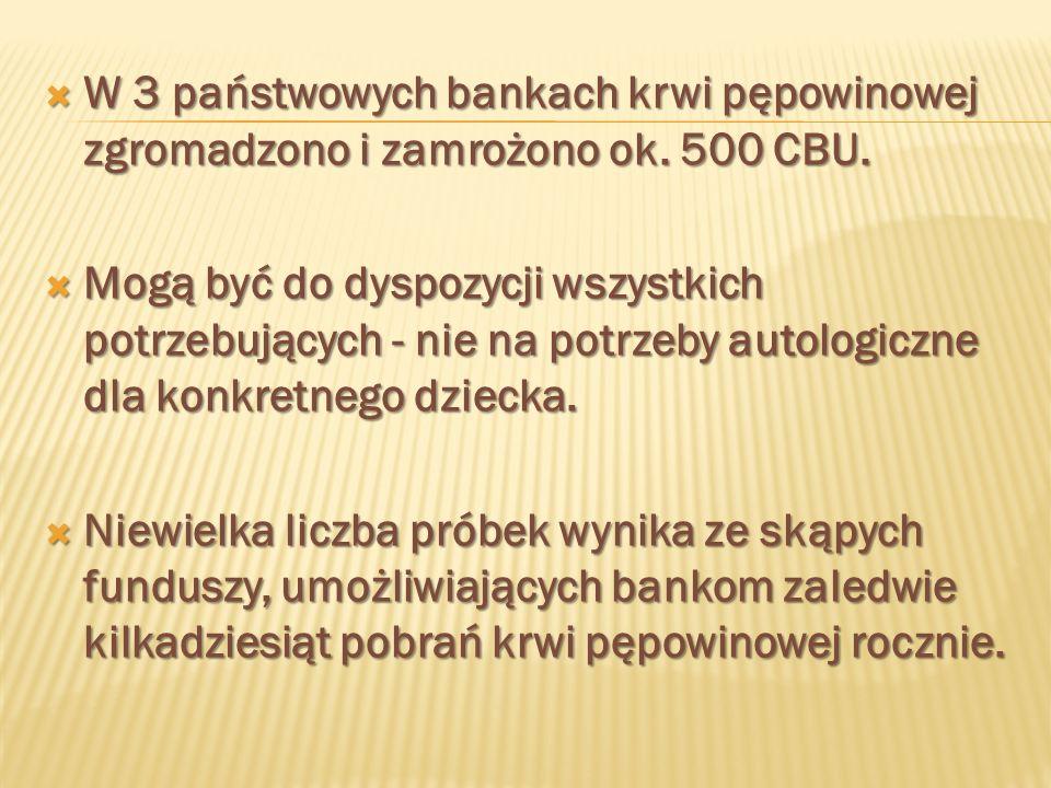 W 3 państwowych bankach krwi pępowinowej zgromadzono i zamrożono ok. 500 CBU. W 3 państwowych bankach krwi pępowinowej zgromadzono i zamrożono ok. 500