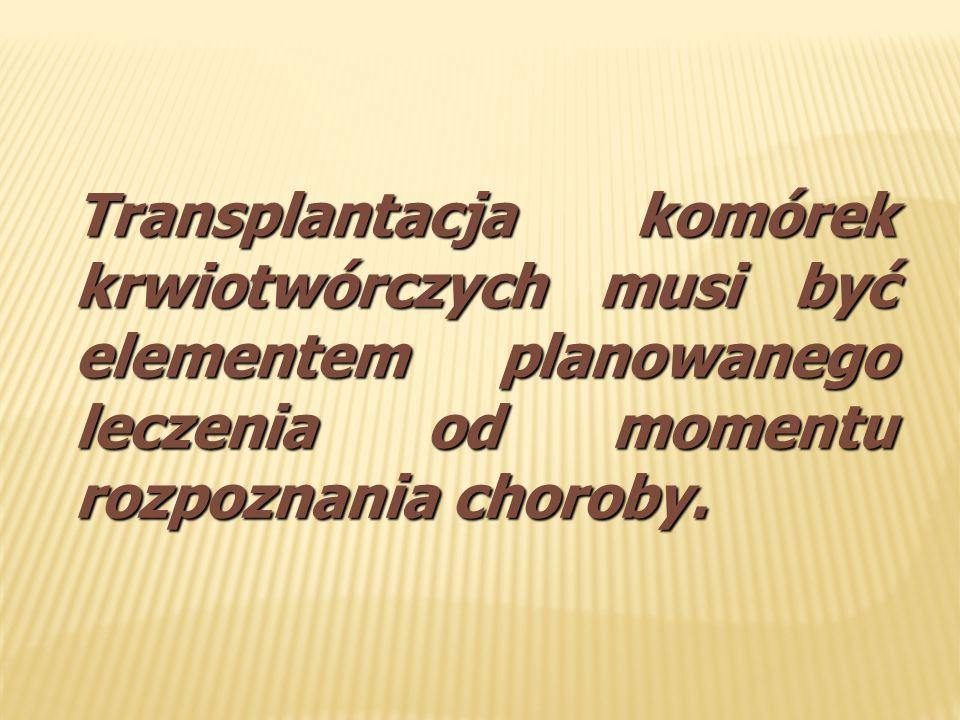 Transplantacja komórek krwiotwórczych musi być elementem planowanego leczenia od momentu rozpoznania choroby.