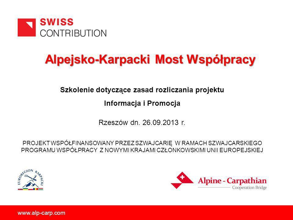 Alpejsko-Karpacki Most Współpracy Alpejsko-Karpacki Most Współpracy PROJEKT WSPÓŁFINANSOWANY PRZEZ SZWAJCARIĘ W RAMACH SZWAJCARSKIEGO PROGRAMU WSPÓŁPR