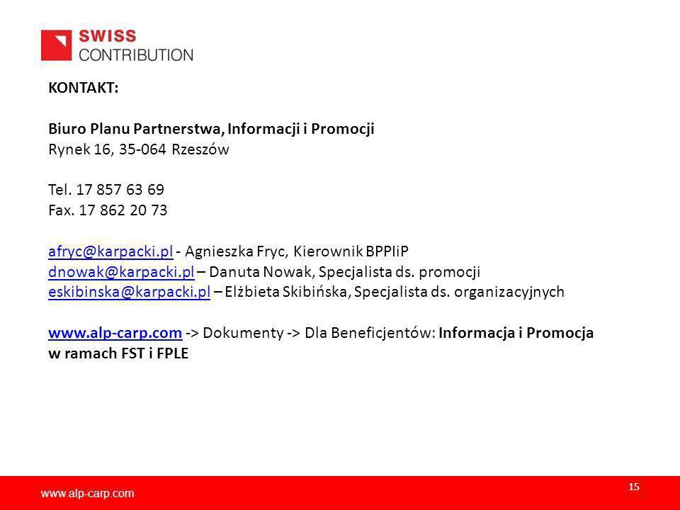www.alp-carp.com KONTAKT: Biuro Planu Partnerstwa, Informacji i Promocji Rynek 16, 35-064 Rzeszów Tel. 17 857 63 69 Fax. 17 862 20 73 afryc@karpacki.p