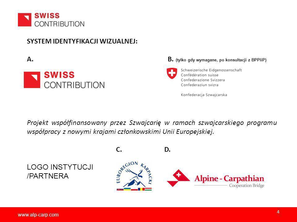www.alp-carp.com SYSTEM IDENTYFIKACJI WIZUALNEJ: A. B. (tylko gdy wymagane, po konsultacji z BPPIiP) Projekt współfinansowany przez Szwajcarię w ramac